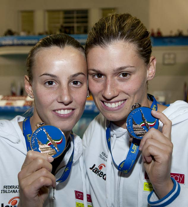 Diving, LEN, Torino2011, 3m springboard women, final, podium, Dallapè, Cagnotto