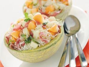 insalata orecchiette prosciutto e melone
