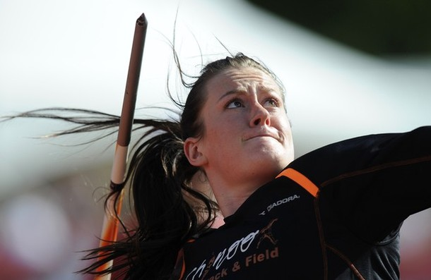 Gleadle competes in the women's javelin finals at the Canadian Track and Field Olympic Trials in Calgary