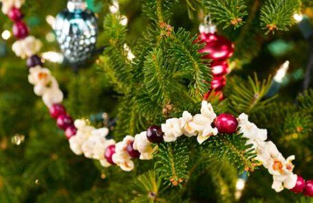 Decorare l'albero di Natale con i pop corn