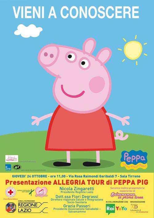 Peppa Pig in tour nei reparti pediatrici d'Italia
