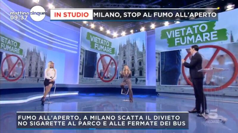 Mattino 5: a Milano è divieto di fumo all'aperto